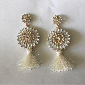 Jewelry - Ivory Crystal Tassel Earrings